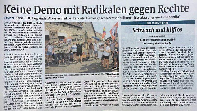 """Stellungnahme zum Artikel """"Keine Demo mit Radikalen gegen Rechte"""" in der Rheinpfalz vom 13.10.2018"""