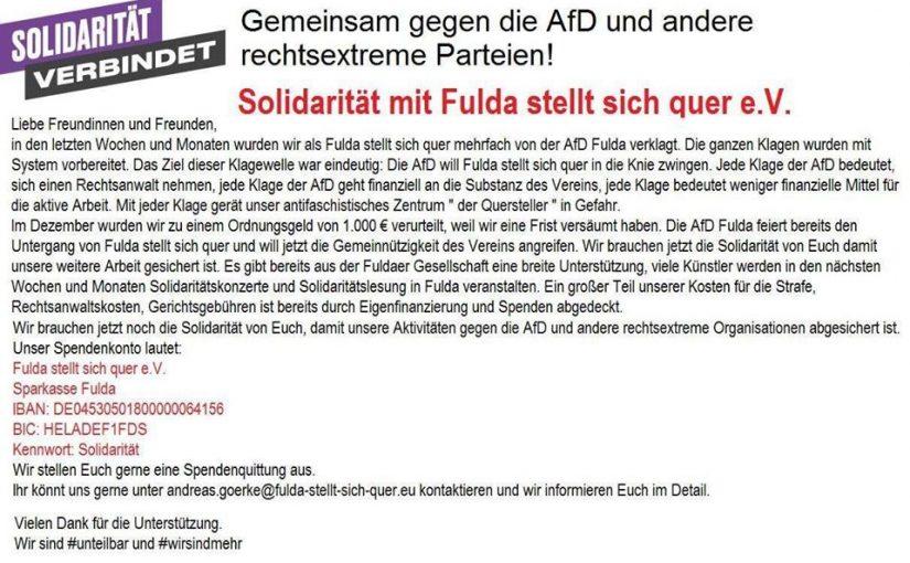 """Solidaritätsaufruf: """"Bündnis Fulda stellt sich quer – gegen Rassismus"""""""